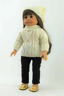 """3 PC Sweater Corduroy Pants & Hat Set For 18"""" American Girl Doll Clothes"""