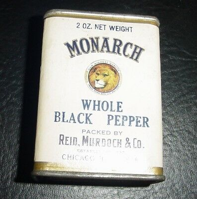 "1930's MONARCH ""WHOLE BLACK PEPPER"" ""Tin"" Reid Murdoch Co. Chicago"