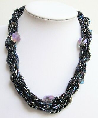 Large vintage a.b crystal bead collar necklace + 1