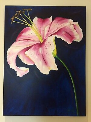 Painting of a single Lily by E JWatson. Signed, authentication,
