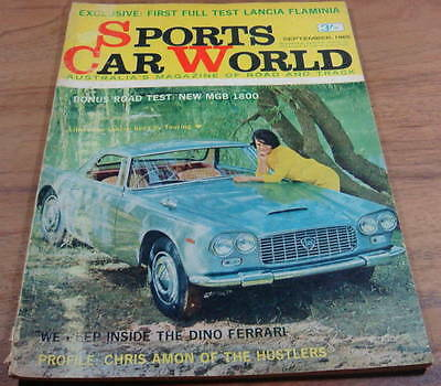 1965.Sports Car World Sept.LANCIA FLAMINIA GT. MGB 1800 Road TEST