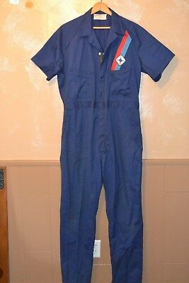 Vintage Unitog Machnics Blue Jump Suit size Large long ~ Chysler / Dodge Patch