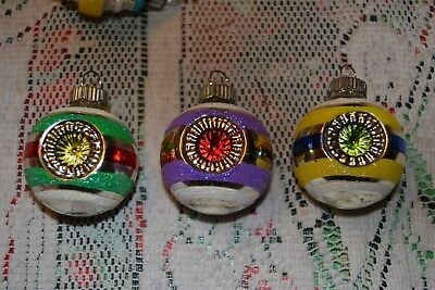 3 Shiny Brite double indent glass Christmas tree ornaments pastel glitter