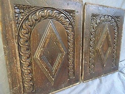 Two  17Th Century Oak Carved Diamond And Arch  Panels