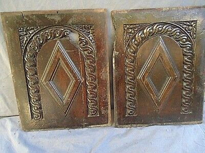 Two  17Th Century Oak Carved Diamond And Arch  Panels ##