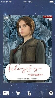 Topps Star Wars Digital Card Trader Red Live Signature Jyn Erso NYCCC Insert