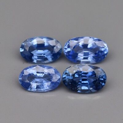 Calibrated 4pc Lot 1.14ct t.w 5x3mm Oval Natural Blue Sapphire, Best For Setting