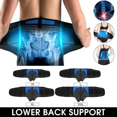 Neoprene Double Pull Lumbar Lower Back Support Deluxe Belt Brace Pain Relief