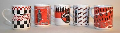 Coca Cola Coke Coffee Mugs Cups (5) Different Patterns 1997 Gibson Collectors