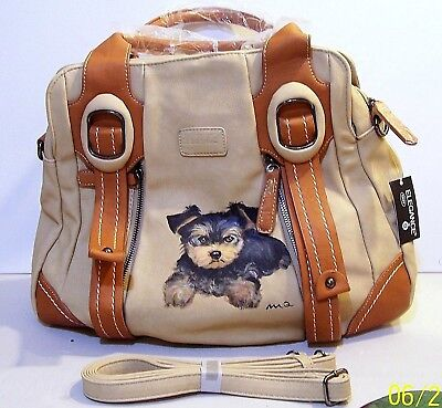 Hand painted Yorkie large Elegance leather Shoulder bag Hand Bag with dustbag