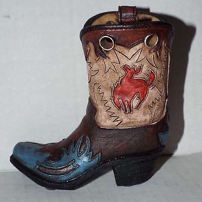 Western Resin Cowboy Boot Collectible Plant Pen Holder Multi Color w Turquoise