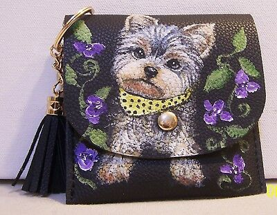 Yorkie hand painted leather coin purse card holder with keychain and tassel