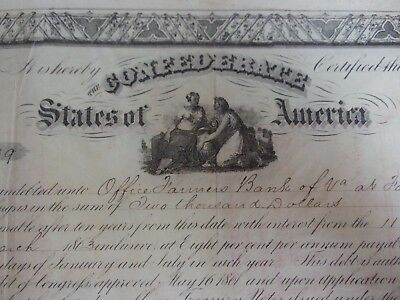 CSA $2000 Confederate Bond Issued 1/1/63 Signed by Robert Tyler CSA Treasury, VA