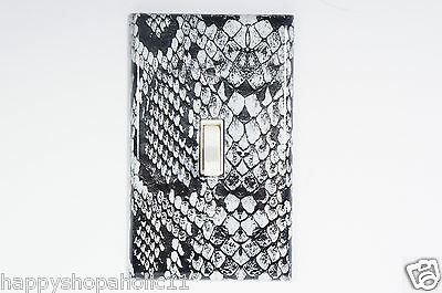 Black and White Snake Skin Pattern Hand Made Light Switch Plates & Outlet Covers