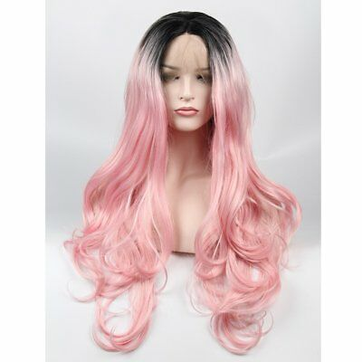 vvBing Long Pink Wig Lace Front Synthetic 2 Tones Ombre Black Hair Roots (d7l)