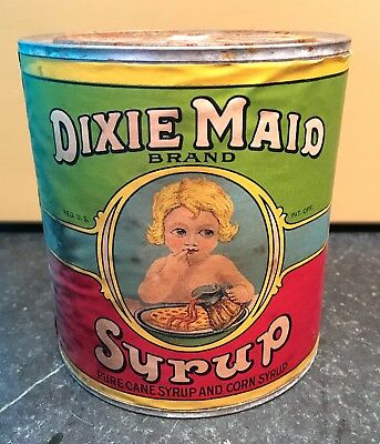 Dixie Maid Syrup Tin Can ~ Paper Label ~ Early 1900's