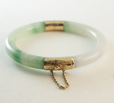 Excelptional Vintage Grade A Jade Bangle Bracelet 14k Yellow Gold