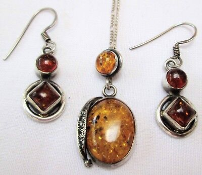 Pair fine vintage sterling silver & amber earrings + amber pendant & chain