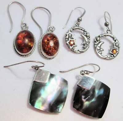 Three pairs fine sterling silver earrings (amber etc)