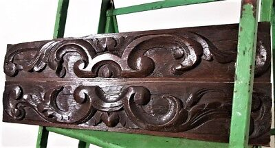 Rare Country Farmhouse Pediment Pair Antique Hand Carved Wood French Trim Panel