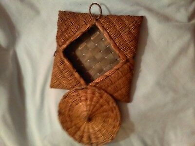 "Oriental Basket,  7"" square with lid. mid 1900, excellent condition"