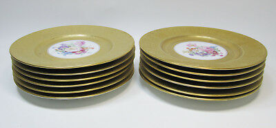 12  H & Co. Selb Bavaria Gold Encrusted Floral Dinner Charger Plates - 10.5""
