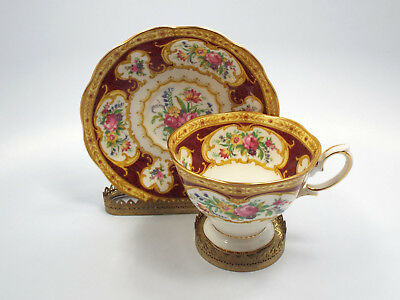 Royal Albert Bone China Lady Hamilton Red Gold Floral Pattern Tea Cup & Saucer