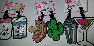 Luv Betsey Johnson Brand Two Rubber Heavy Duty Luggage ID Tag Set Various Styles