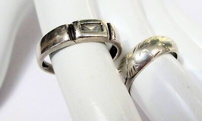 Two good vintage sterling silver band rings