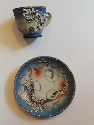 Vintage Hand Painted Blue Dragonware Moriage Cup And Saucer
