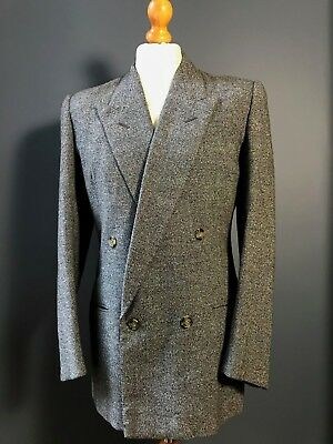 .  Vintage 1930's 1940's grey double breasted tweed suit size 38 40 long
