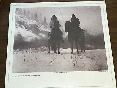 """Edward S Curtis Photogravure John Andrew & Son Plate 129 """"FOR A WINTER CAMPAIGN"""""""