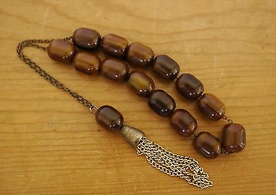 Vintage Genuine Bakelite Butterscotch Root Beer Cognac Worry Prayer Beads TESTED