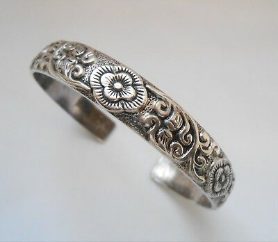 Antique Chinese Silver Bangle Cuff Bracelet