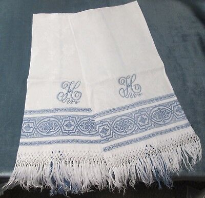 Fabulous Pair Blue & White Fringed Linen Damask Show Towels H Monograms Gorgeous