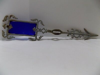 Lightning Rod Arrow with Blue Glass Weather Vane Silver Cast  (t55-2)