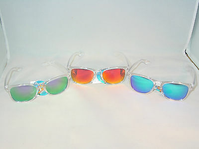 Set Of 3 Pair 1 Of Each Color Multi-Color Square Clear Frame Sunglasses