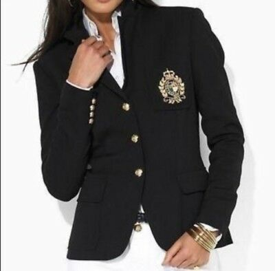 RALPH LAUREN Iconic Black Womens 6 P Crest Crown 3 Button Jacket Blazer