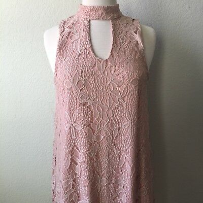 bc6f1eb0b Love Fire Junior's Dress Rose Pink Lace High Neck Sleeveless Lined Size  Medium