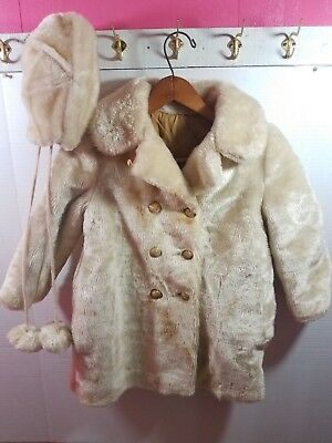 Vintage 50's 60's Sears Girls Faux Fur Quilted Lining Sz 6 Coat Jacket & cap hat