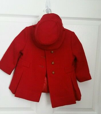 Vintage Childs Coat With Matching Hat Bonnet Red S J Buchman Rare Designer Ny