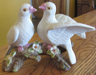 Vintage White Doves Pair on Branch Porcelain Figurine Home Decor
