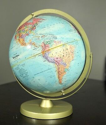 """Vintage Replogle World Nations Series Globe Double Axis Textured 12"""" Mid Century"""