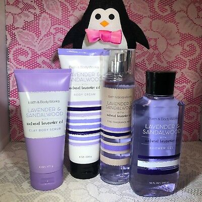 Bath and Body Works Lavender and Sandalwood With Natural Oil Full Size Set