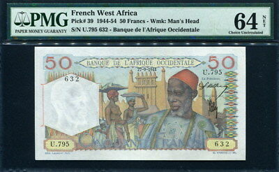 French West Africa 1944-1954 ( 1944 ), 50 Francs, 633, P39, PMG 64 NET UNC