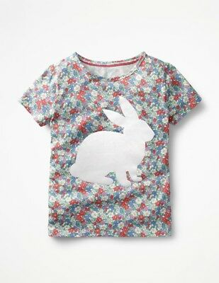 NWT Mini Boden girls 6-7 7-8 9-10 Floral flocked bunny print t shirt top new