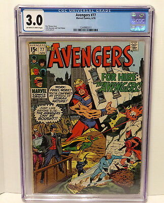 Avengers #77 - Marvel Comics - 6/70 - Off-White To White Pages Cgc 3.0