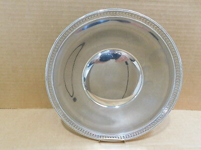 Sterling silver bowl 9 3/8 reticulated beaded ~  Elgin Silversmith Co., NY, tray