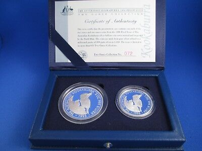1996 AUSTRALIAN PROOF KOOKABURRA SILVER COIN - 2oz COLLECTION -  Numbered 72
