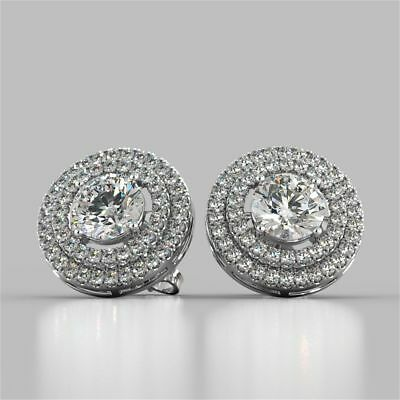 Pave 2.30 Cts Round Brilliant Cut Diamonds Halo Stud Earrings In Solid 14K Gold